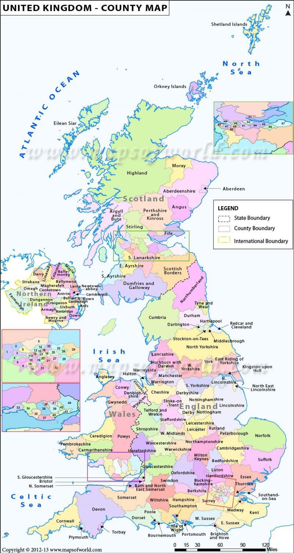 Ison Britannian Kartta Jossa Maakunnat Ja Kaupungit Kartta