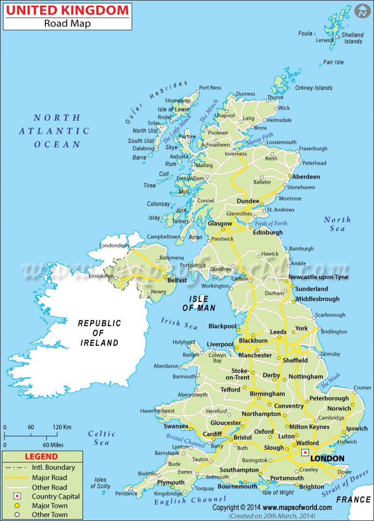 Ison Britannian Kartta Yksityiskohtainen Kartta Iso Britannia