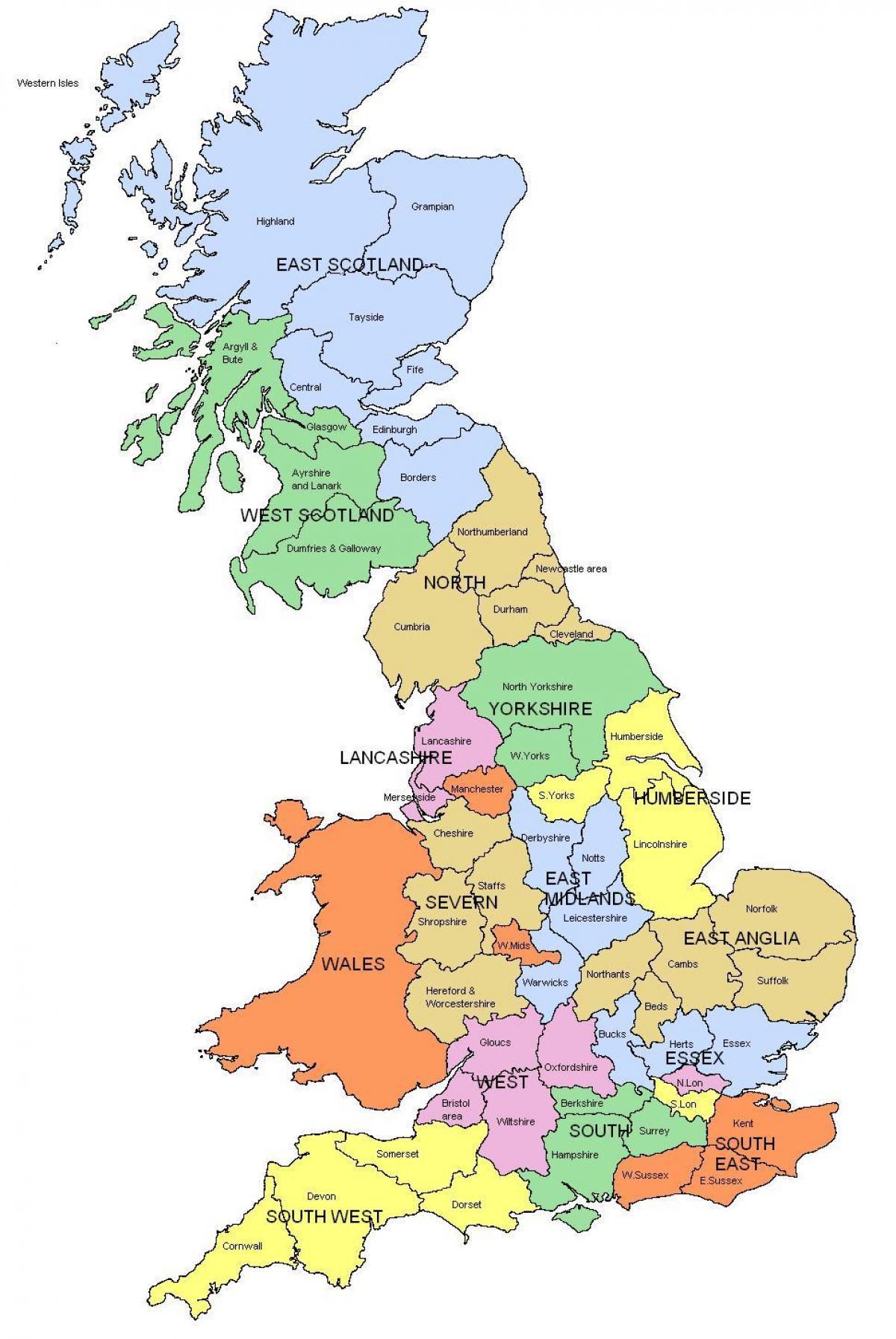 Suuri Kartta Uk Suuri Kartta Iso Britannia Pohjois Eurooppa