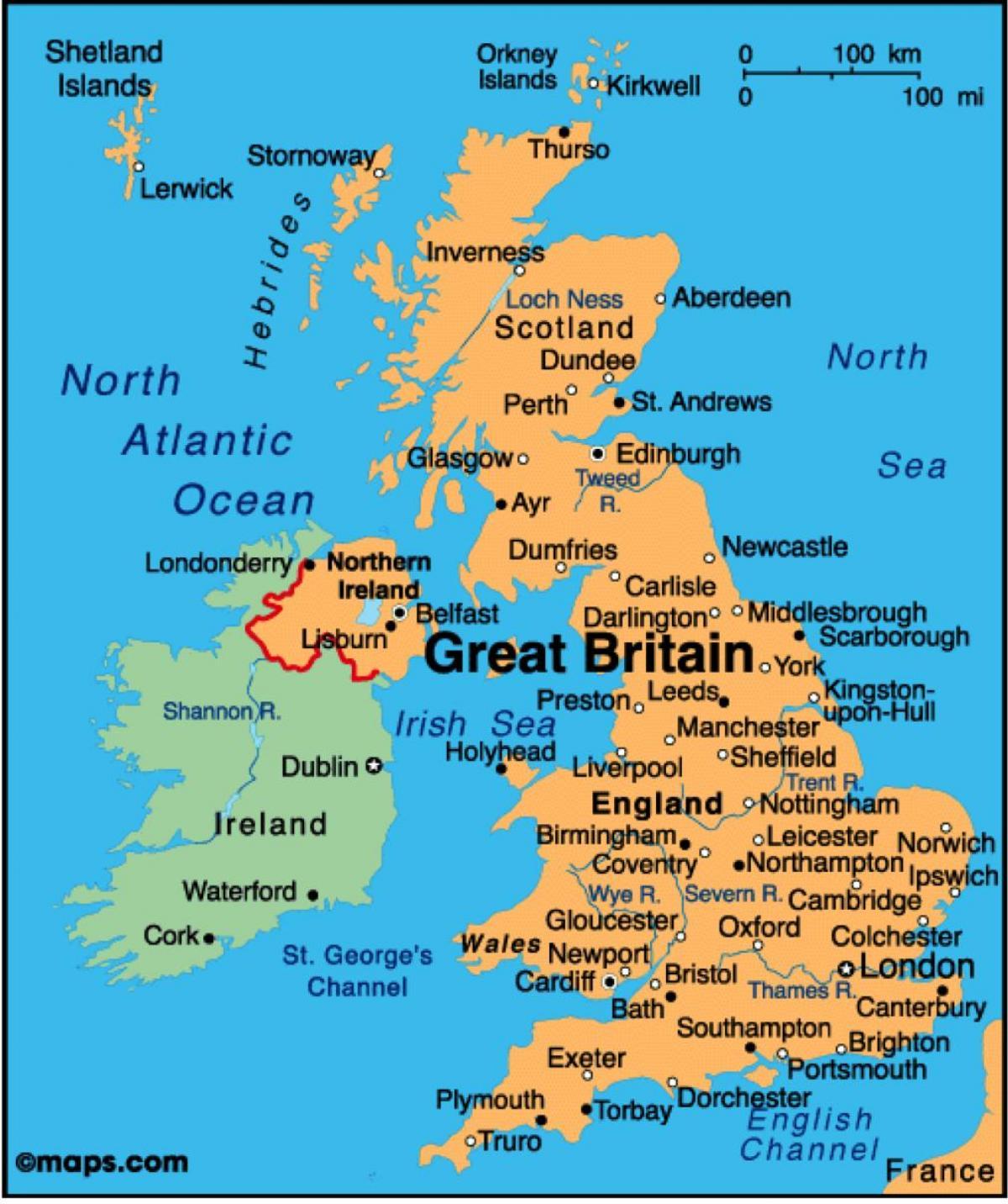 Uk Kartat Nayta Kartta Uk Pohjois Eurooppa Eurooppa